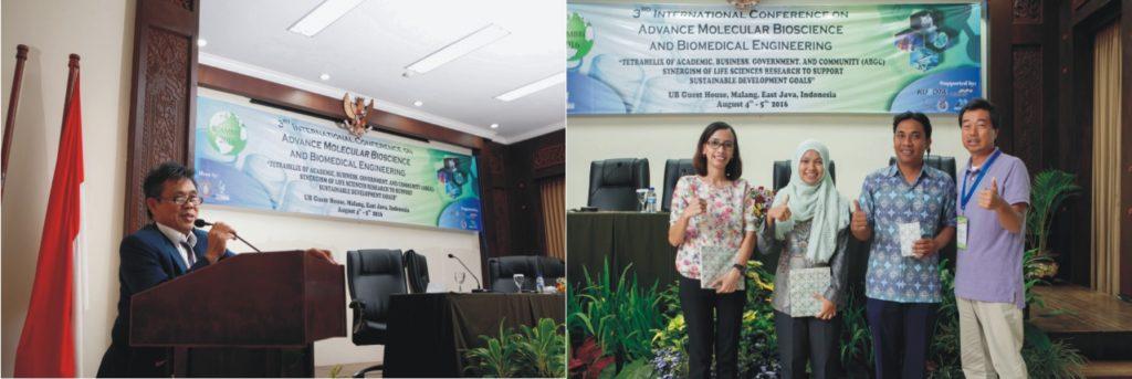 Gambar (1a) Dr . Gatot Ciptadi menyajikan makalah sebagai invited Speaker pada acara 3 rd ICAMBBE di Universitas Brawijaya . (1b) Teguh Wicaksono berhasil memperoleh penghargaan sebagai penyaji paster terbaik ketiga ( Foto by. Andrew Aziz, Agustus 2016).