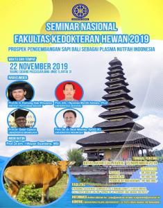 Brosur seminar Nasional Fakultas Kedokteran Hewan  Universitas Udayana, Bali 2019.